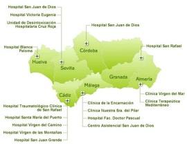 Distribución por provincias de los hospitales concertados en Andalucía
